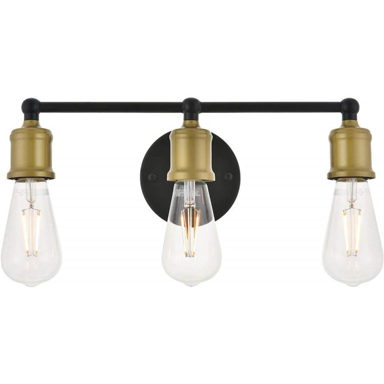 Living District Serif 3 light brass and black Wall Sconce