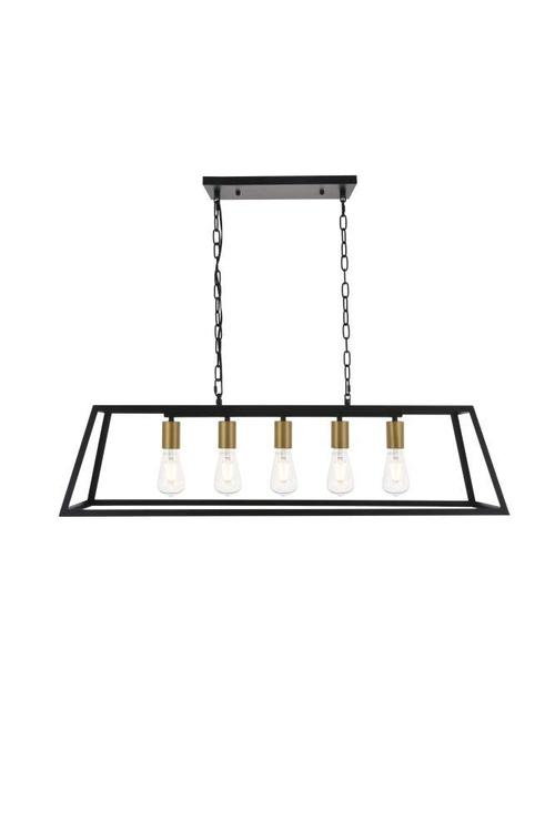 Living District Resolute 5 light brass and black Pendant