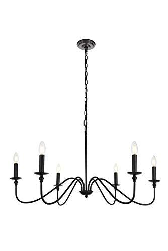 Elegant Lighting Rohan Collection Chandelier D36 H19 Lt:6 Matte Black Finish [Item # LD5006D36MB]