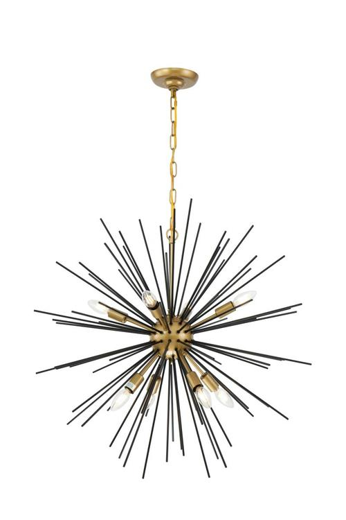 Living District Timber 8 light Brass and Black pendant [Item # LD5038D30BK]