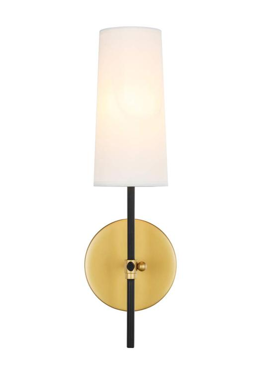 Living District Mel 1 light Brass and Black and White shade wall sconce [Item # LD6004W5BRBK]