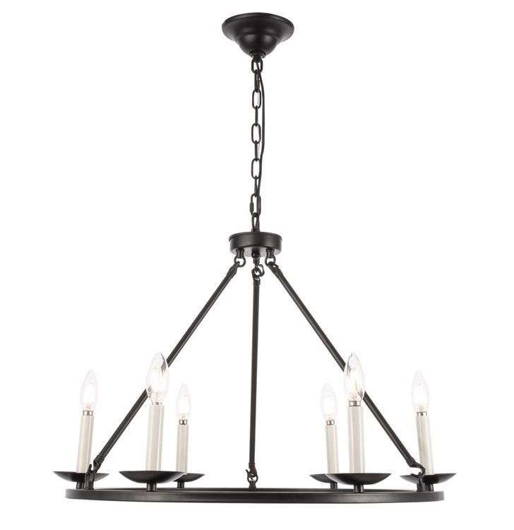 Living District Maine 6 light Black chandelier [Item # LD6010D26BK]