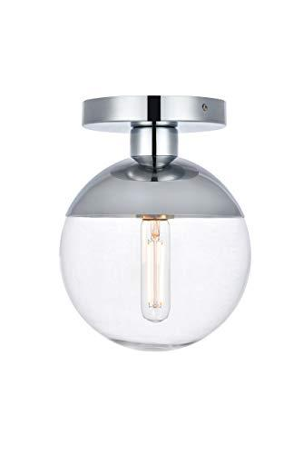 Living District Eclipse 1 Light Chrome Flush Mount With Clear Glass