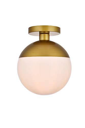 Living District Eclipse 1 Light Brass Flush Mount With Frosted White Glass