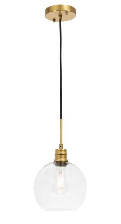 Living District Emett 1 light Brass and Clear glass pendant [Item # LD6206BR]