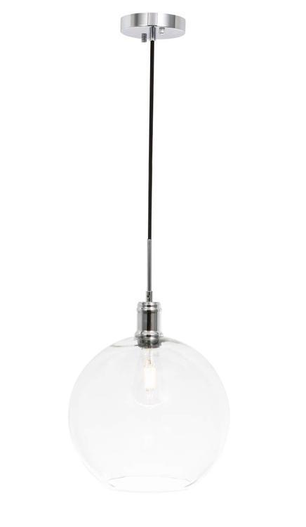 Living District Emett 1 light Chrome and Clear glass pendant [Item # LD6208C]