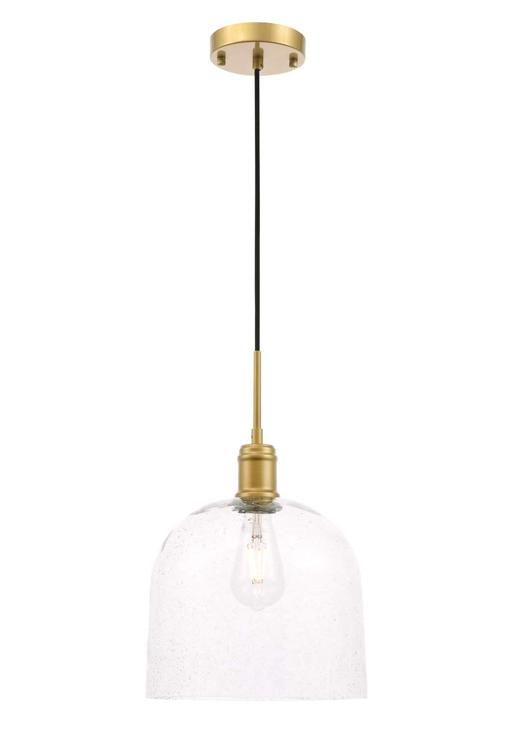 Living District Gabe 1 light Brass and Clear seeded glass pendant [Item # LD6215BR]