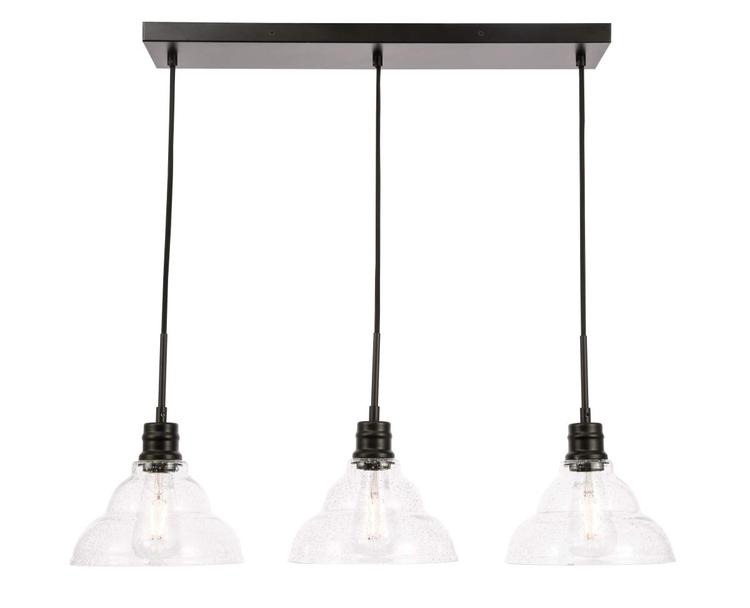 Living District Clive 3 light Black and Clear seeded glass pendant [Item # LD6222BK]