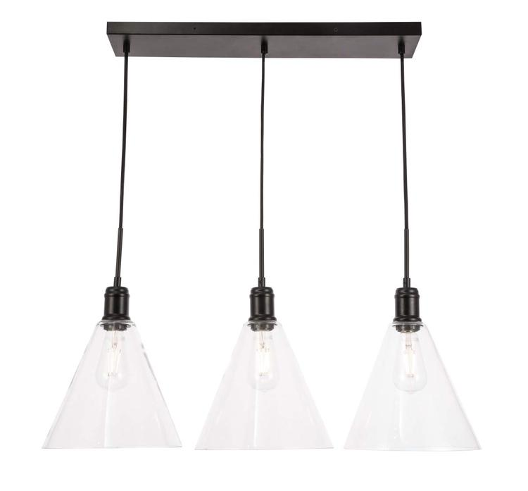 Living District Hugh 3 light Black and Clear glass pendant [Item # LD6231BK]