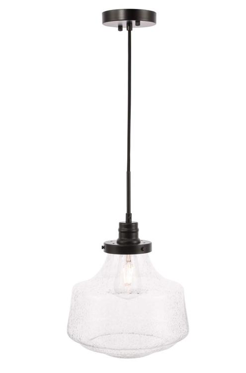 Living District Lyle 1 light Black and Clear seeded glass pendant [Item # LD6258BK]