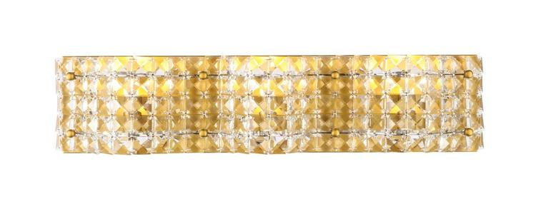Living District Ollie 3 light Brass and Clear Crystals wall sconce [Item # LD7016BR]