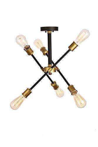 Elegant Lighting Axel Collection Flushmount D17.1 H16.6 Lt:6 Black and Brass Finish