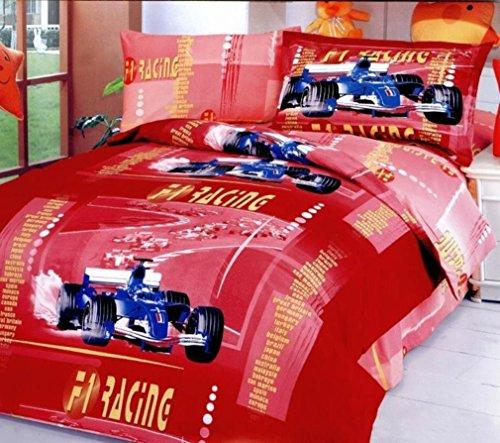 Twin Size Duvet Cover Sheets Set, Car Racing Red