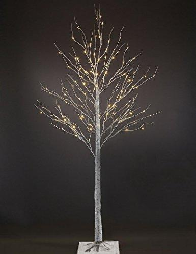 7ft White Artificial Birch Christmas tree with 120 LEDs