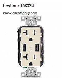 LEVITON T5832-T Combo Duplex Receptacle & 20-Amp USB Charger (Light Almond)