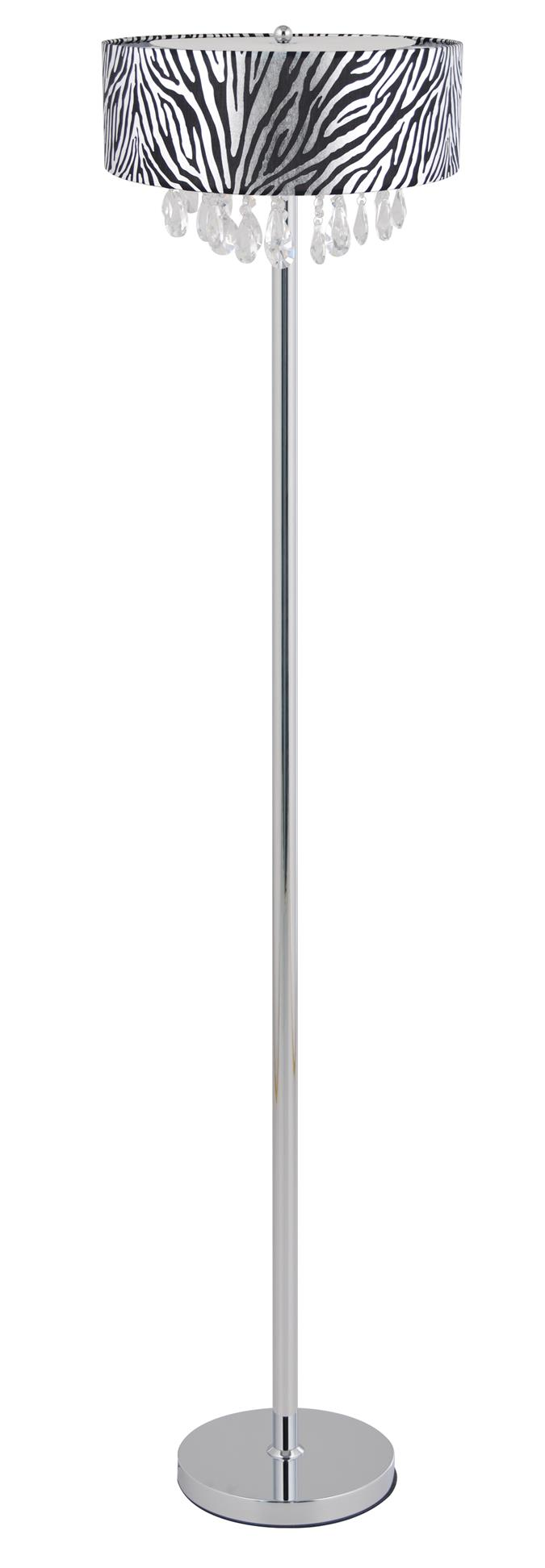 Trendy Crystal and Chrome Floor Lamp with Drum Shade