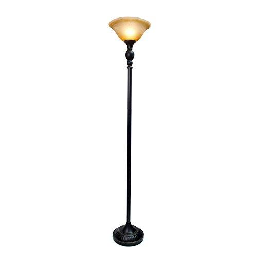 Elegant Designs 1 Light Torchiere Floor Lamp with Marbelized Amber Glass Shade, Restoration Bronze