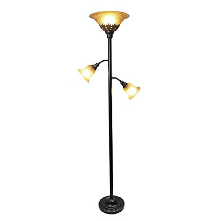 Elegant Designs 3 Light Floor Lamp with Scalloped Glass Shades, Restoration Bronze