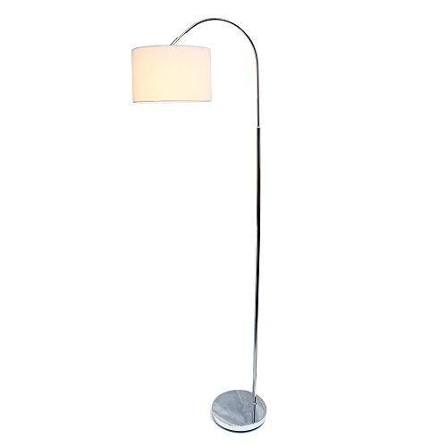 Simple Designs Arched Brushed Nickel Floor Lamp, White Shade