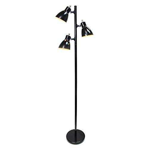 Simple Designs Metal 3-Light Tree Floor Lamp, Black Finish