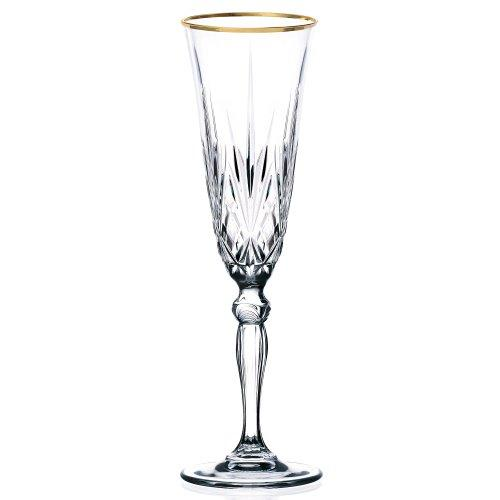 Siena Collection Set of 4 Crystal Flute Glass with gold band design by Lorren Home Trends
