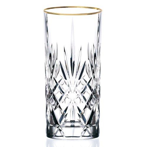 Siena Collection Set of 4 Crystal Water, Beverage, or Ice tea Glass with gold band design by Lorren Home Trends [Item # LG3003]