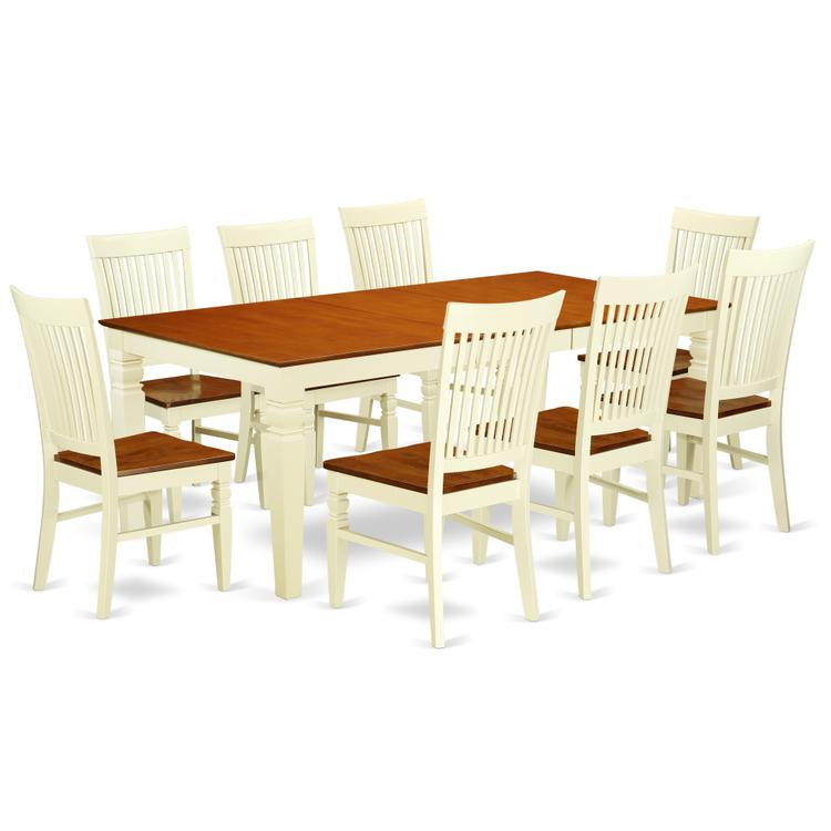 East West Furniture LGWE9-BMK-W 9 Pc Dining set with a Dining Table and 8 Wood Seat Kitchen Chairs in Buttermilk and Cherry [Item # LGWE9-BMK-W]