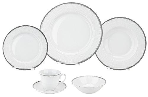 24 Piece Silver Porcelain Dinnerware Service for 4-Alyssa
