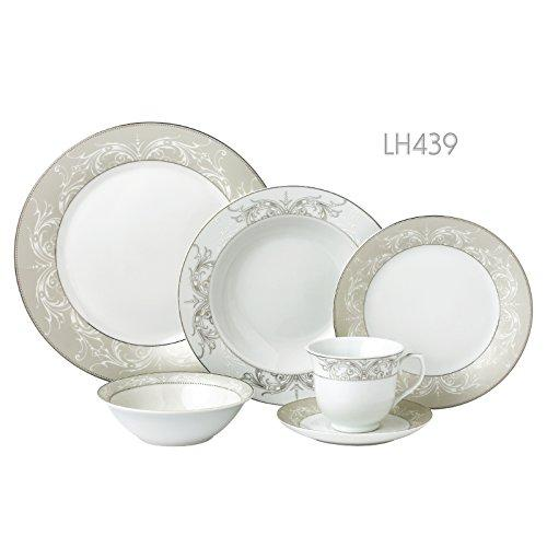 24 Piece Silver Border Porcelain Dinnerware Set-Service for 4-Olympia-Mix and Match