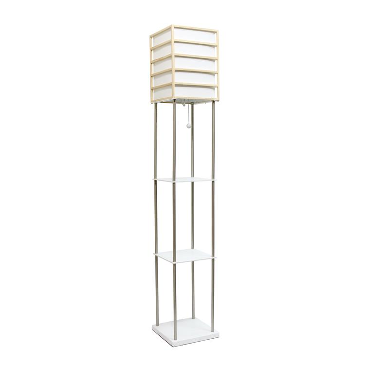 Lalia Home 1 Light Metal Etagere Floor Lamp with Storage Shelves and Linen Shade