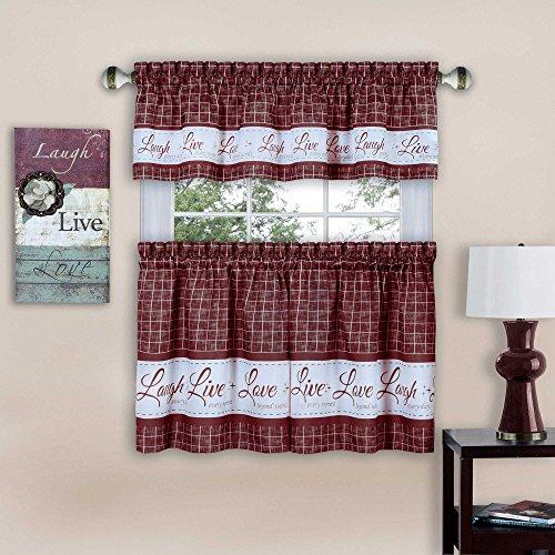 Live, Love, Laugh Window Curtain Tier Pair and Valance Set - 58x24 - Burgundy