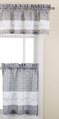 Live, Love, Laugh Window Curtain Tier Pair and Valance Set - 58x24 - Grey