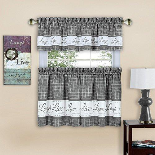 Live, Love, Laugh Window Curtain Tier Pair and Valance Set - 58x36 - Grey