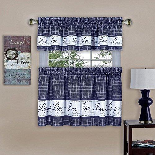 Live, Love, Laugh Window Curtain Tier Pair and Valance Set - 58x36 - Navy
