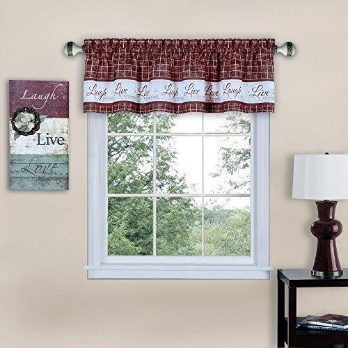 Live, Love, Laugh Window Curtain Valance - 58x14 - Burgundy