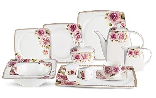 57 Piece Dinnerware Set-Bone China Service for 8-Loretta