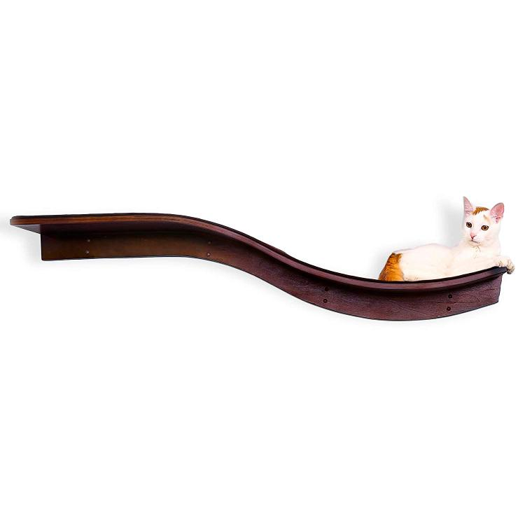 The Refined Feline Lotus Branch Cat Shelf - Mahogany