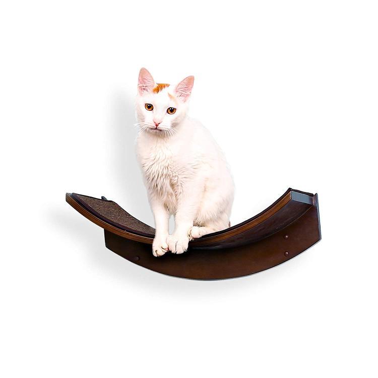 The Refined Feline Lotus Leaf Cat Shelf - Mahogany