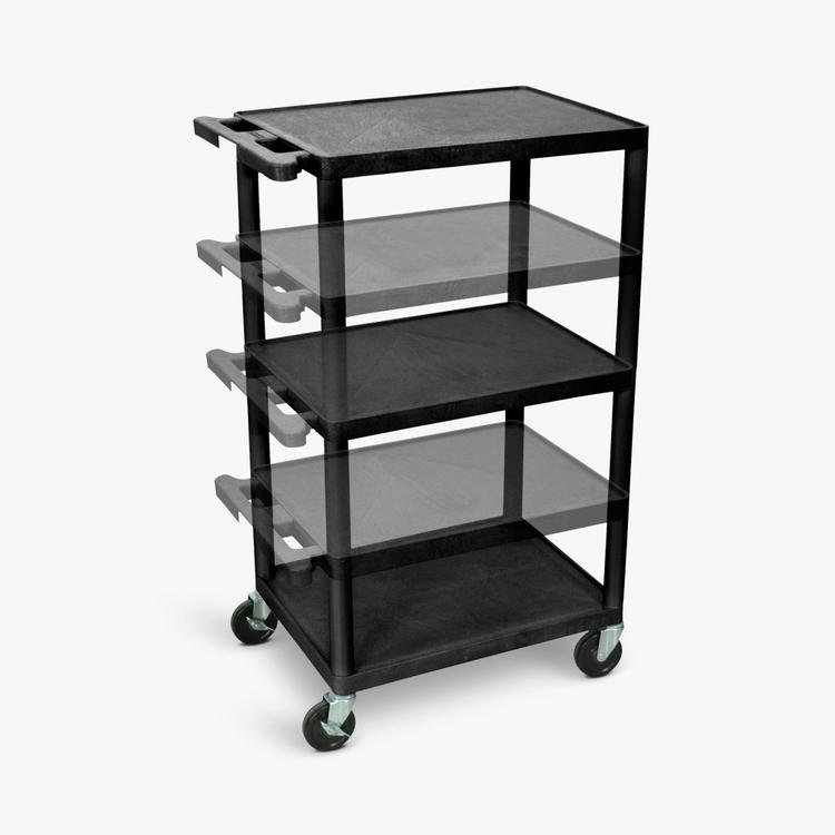 Luxor Multi-Height AV Cart - Three Shelves