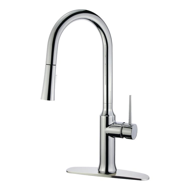 Gourmetier LS2721NYL Single-Handle Pull-Down Kitchen Faucet, Polished Chrome