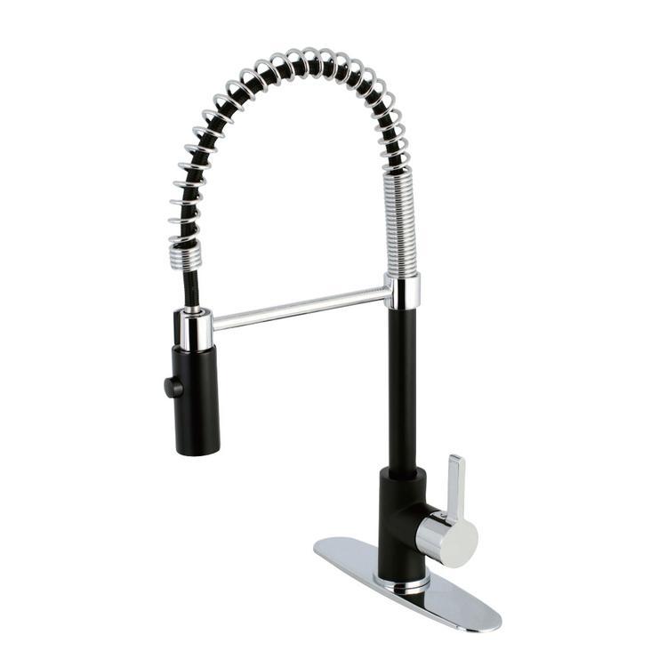 Gourmetier LS8777CTL Continental Single-Handle Pre-Rinse Kitchen Faucet, Matte Black/Polished Chrome