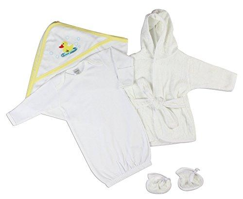 Bambini Neutral Newborn Baby 3 Pc Layette Set (Gown, Robe, Hooded Towel)
