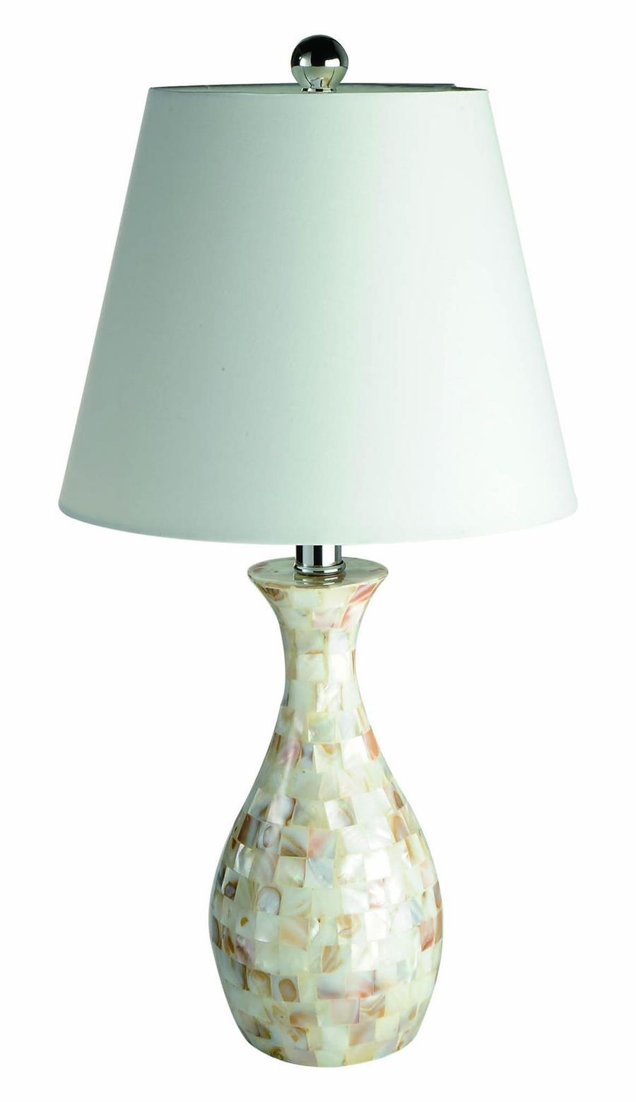 Trendy Seashell Tiled Mosaic Look Curved Table Lamp with Chrome Accents