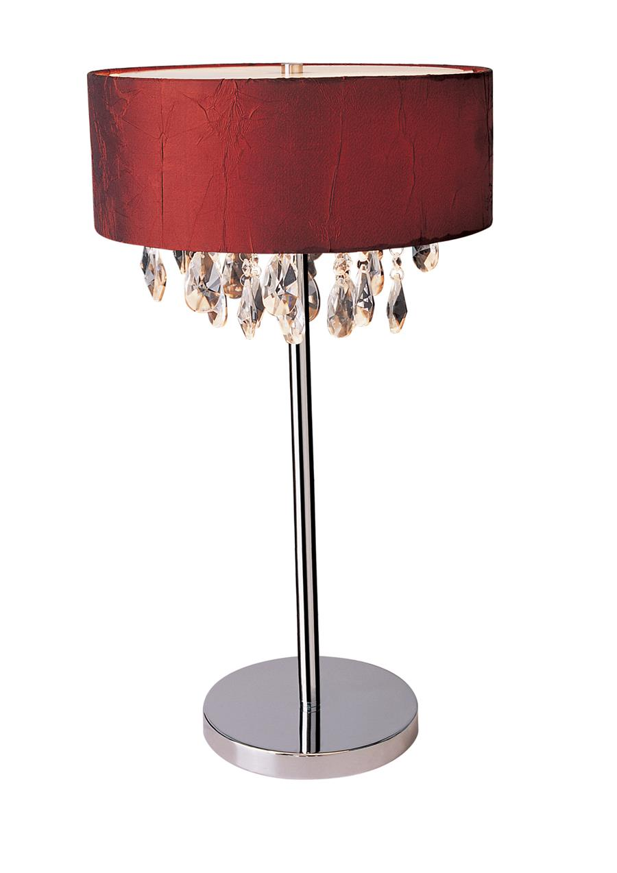 Trendy Crystal and Chrome Table  Lamp with  Drum Shade