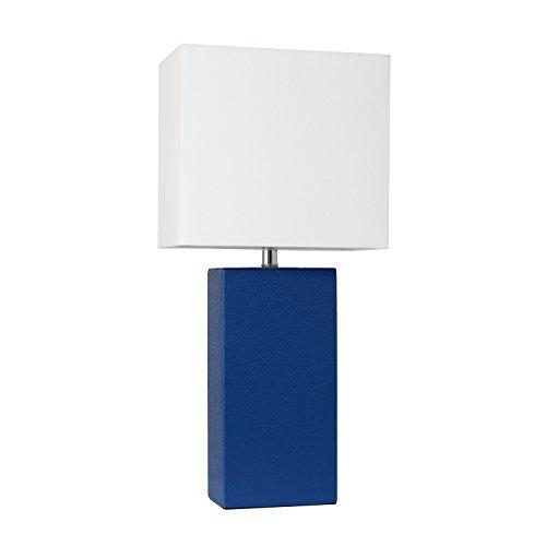 Modern Leather Table Lamp with White Fabric Shade