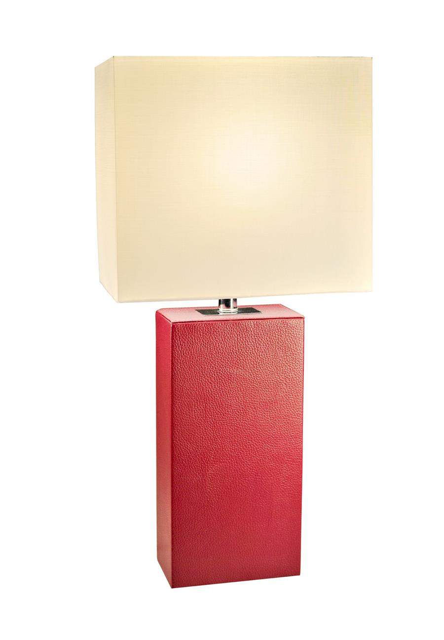 Elegant Designs 1 Pack Modern Leather Table Lamps with White Fabric Shades, Red