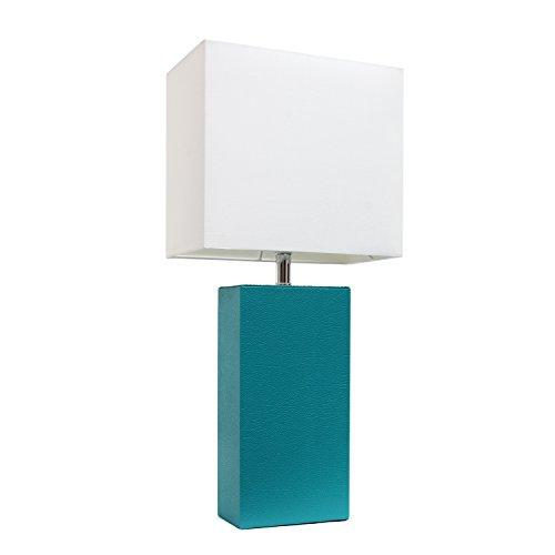 Elegant Designs Modern Leather Table Lamp with White Fabric Shade, Teal