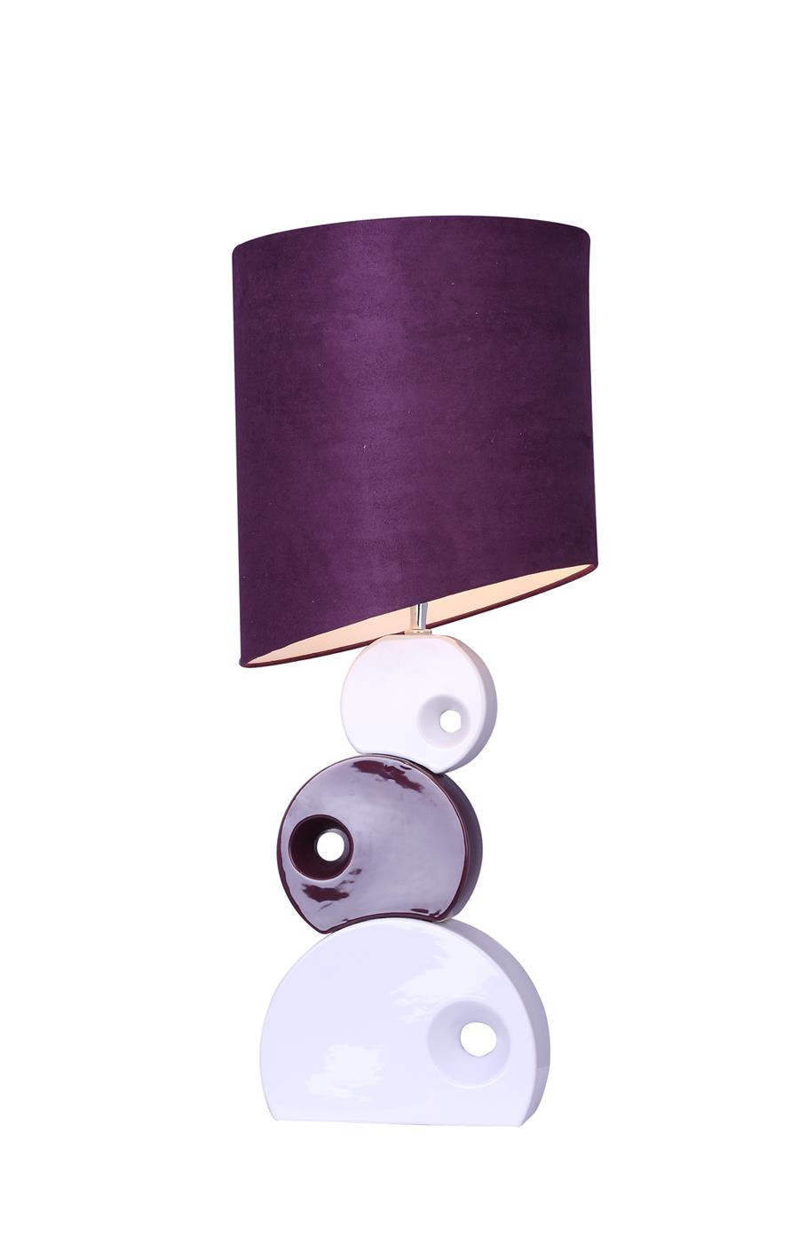 Purple and White Stacked Circle Ceramic Table Lamp with Asymmetrical Shade