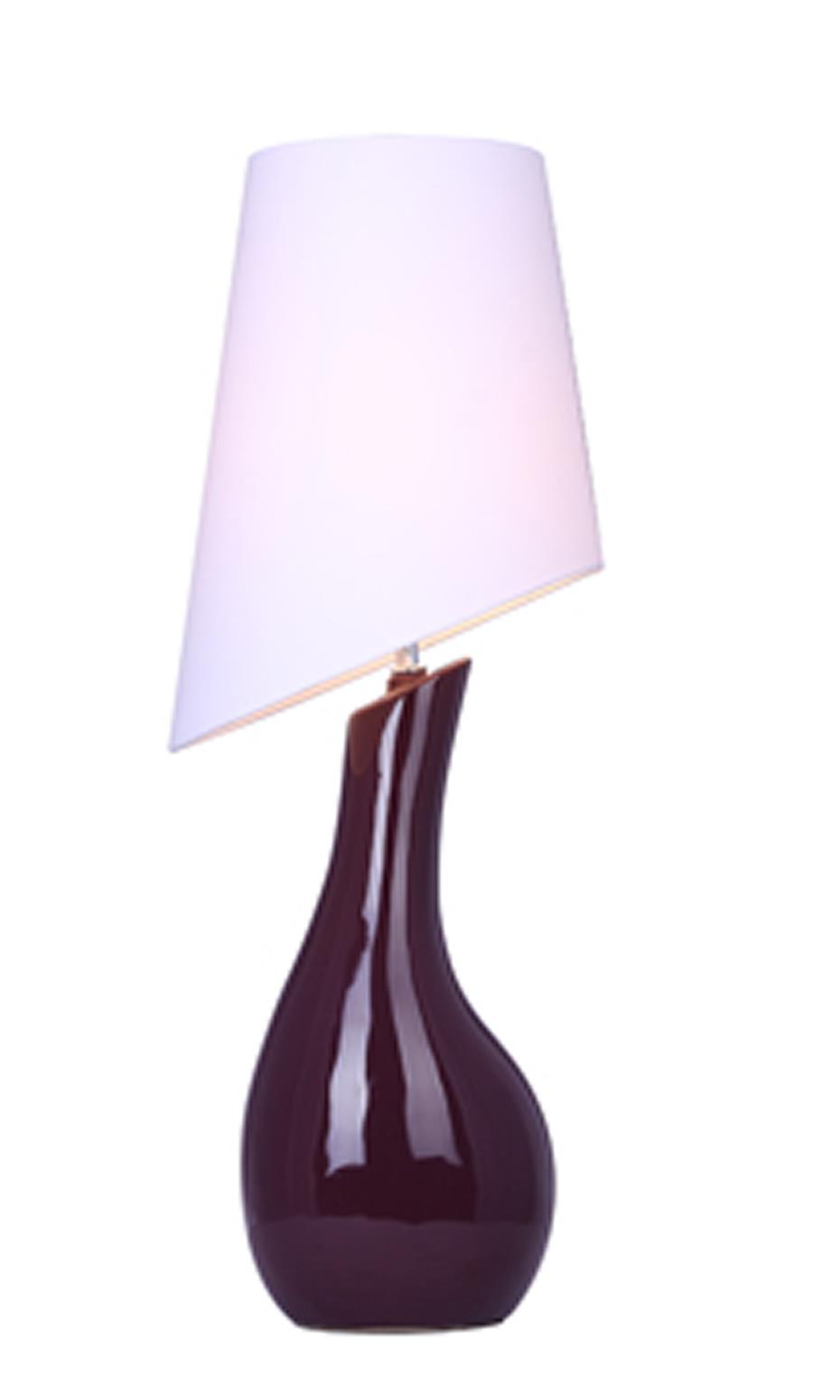 Curved Purple Ceramic Table Lamp with Asymmetrical White Shade