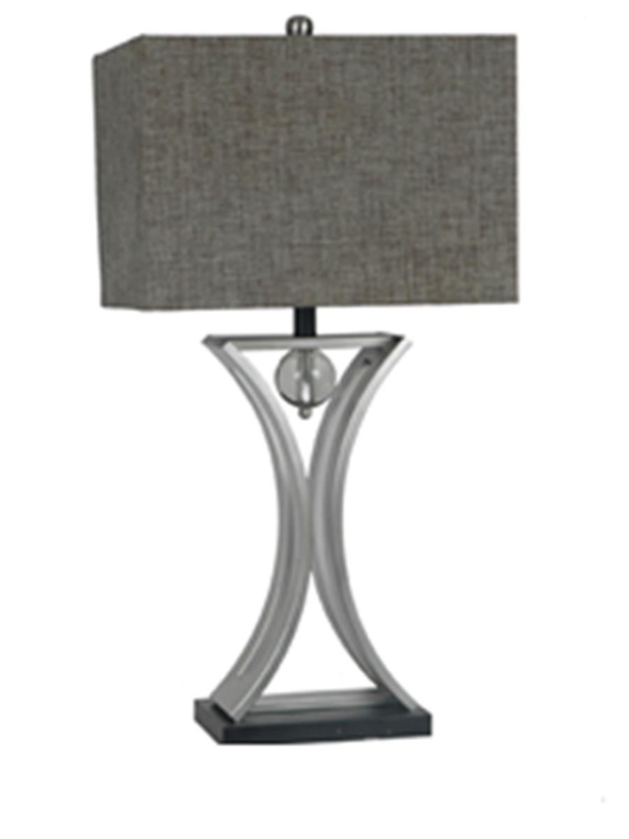 Chrome and Black Conference Room Hourglass Shape with Pendulum Table Lamp